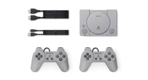 Playstation Classic Mini Console with Wires and Controllers