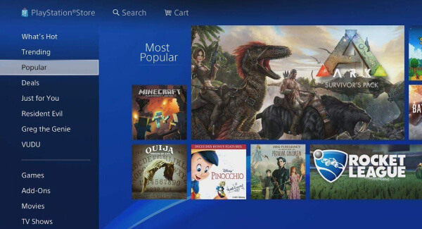 Playstation Store UI