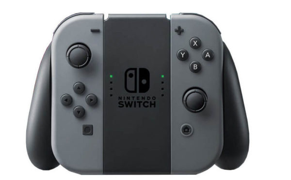 Nintendo Switch Joy-Con Controllers attached to grip