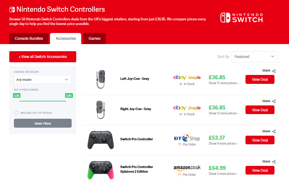 nintendo switch controllers deal page