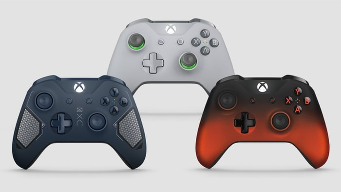 Xbox One green and grey red and black blue tech controllers