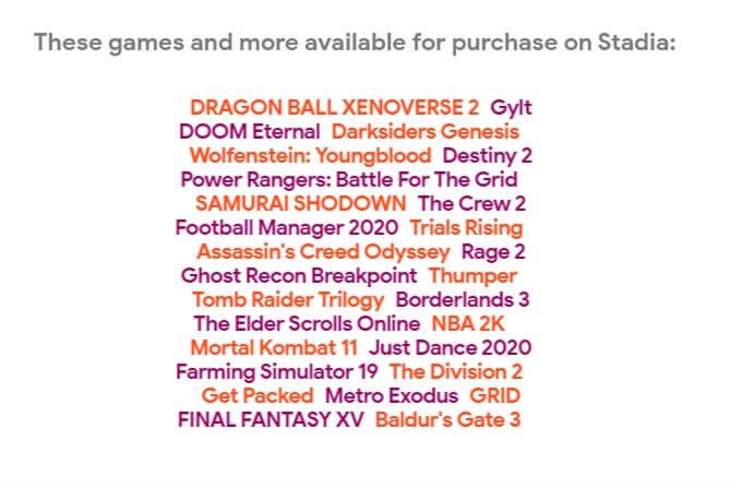 Stadia games list