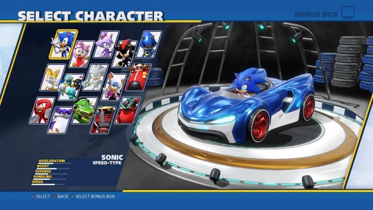 Team Sonic Racing character select