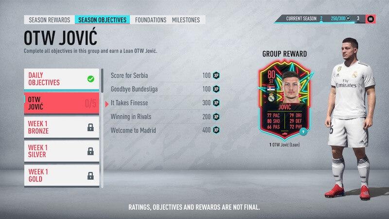 FIFA 20 Ultimate Team season objectives