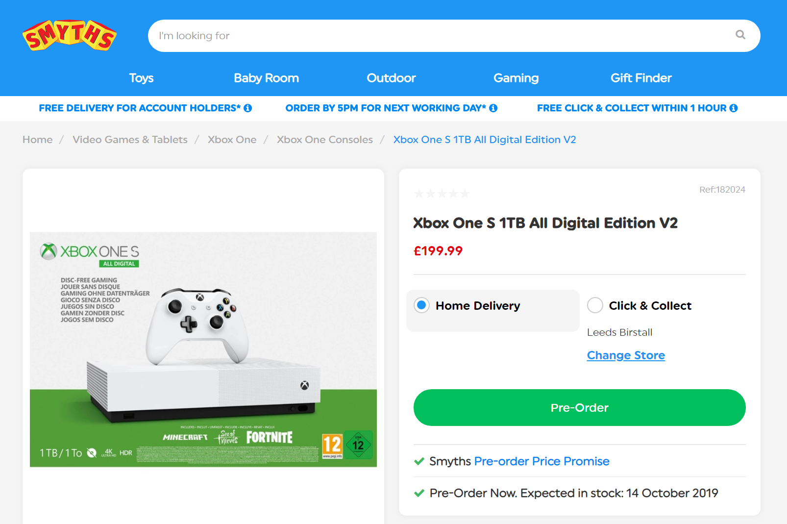 Smyths listing the Xbox One S All-Digital V2